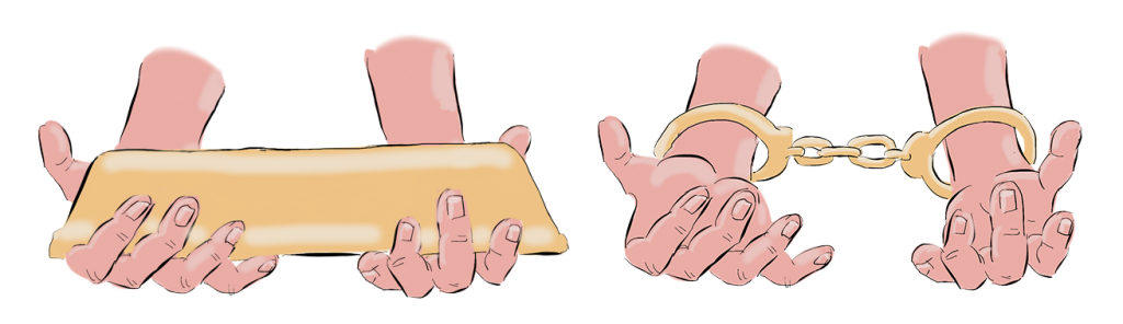 hands with gold bar and handcuffs